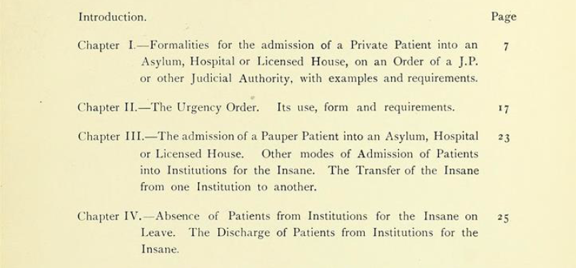 "Detail of the chapter index from ""Lunacy Practice: A Practical Guide for the Certification and Detention of Persons of Unsound Mind"" by William H. Gattie - Wellcome Library"